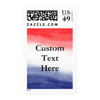 Red White & Blue Watercolor Patriotic Invitation Postage