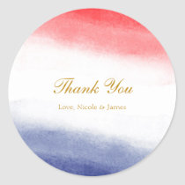 Red White & Blue Watercolor Patriotic Party Favor Classic Round Sticker