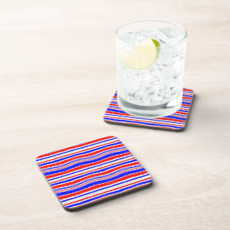 Red White Blue Waving Lines Drink Coasters