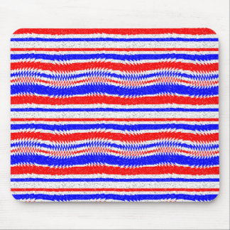 Red White Blue Waving Lines Mouse Pad