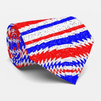 Red White Blue Waving Lines Neck Tie