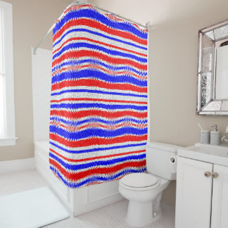 Red White Blue Waving Lines Shower Curtain. Red White Blue Shower Curtains   Zazzle