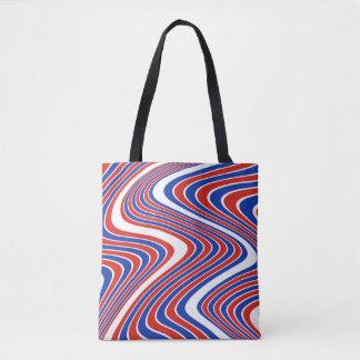 Red, White & Blue Wavy Stripes Tote Bag