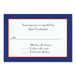 Red, White, & Blue Wedding RSVP Card Personalized Invitation
