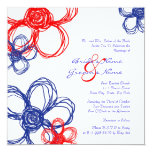 "Red, White, Blue Wild Flowers Wedding Invitation 5.25"" Square Invitation Card"