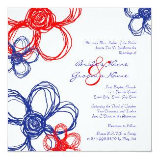 "Red, White, Blue Wild Flowers Wedding Invitation 5.25"" Square Invitation Card"