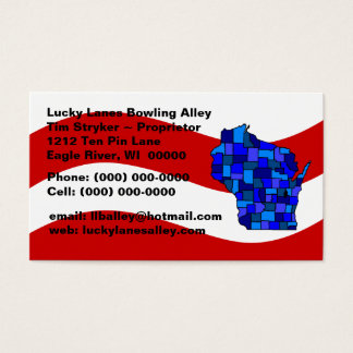 Red White & Blue Wisconsin Map State Business Card