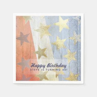 Red White & Blue with Gold Stars Custom Text Paper Napkin
