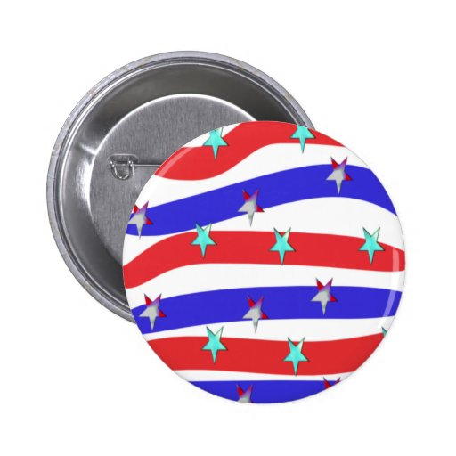Red,White & Blue with Stars 2 Inch Round Button
