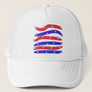 Red,White & Blue with Stars Trucker Hat