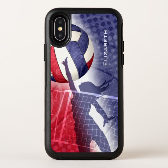 red white blue women's volleyball OtterBox symmetry iPhone XS case