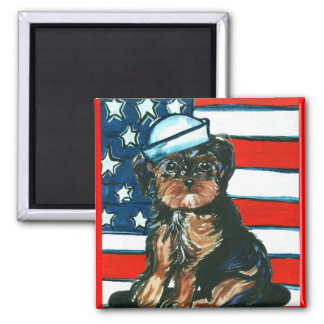 Red,White & Blue Yorkie Poo 2 Inch Square Magnet