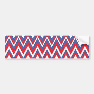 Red White & Blue Zig Zag Pattern Car Bumper Sticker