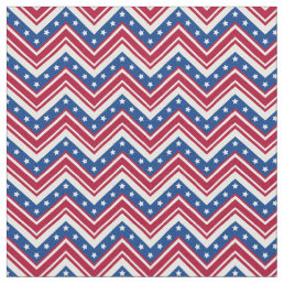Red White Blue Zigzag Chevron - Small Print Fabric