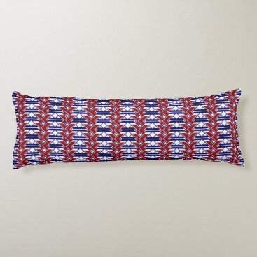 Beach Themed Red White & Blue zigzag lattice work design Body Pillow
