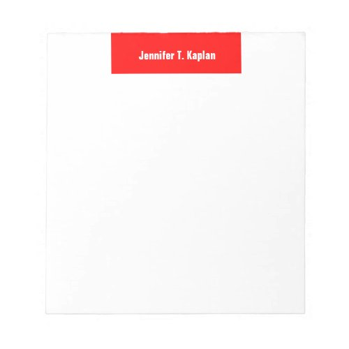 Red White Bold Name Plain Professional Modern Notepad