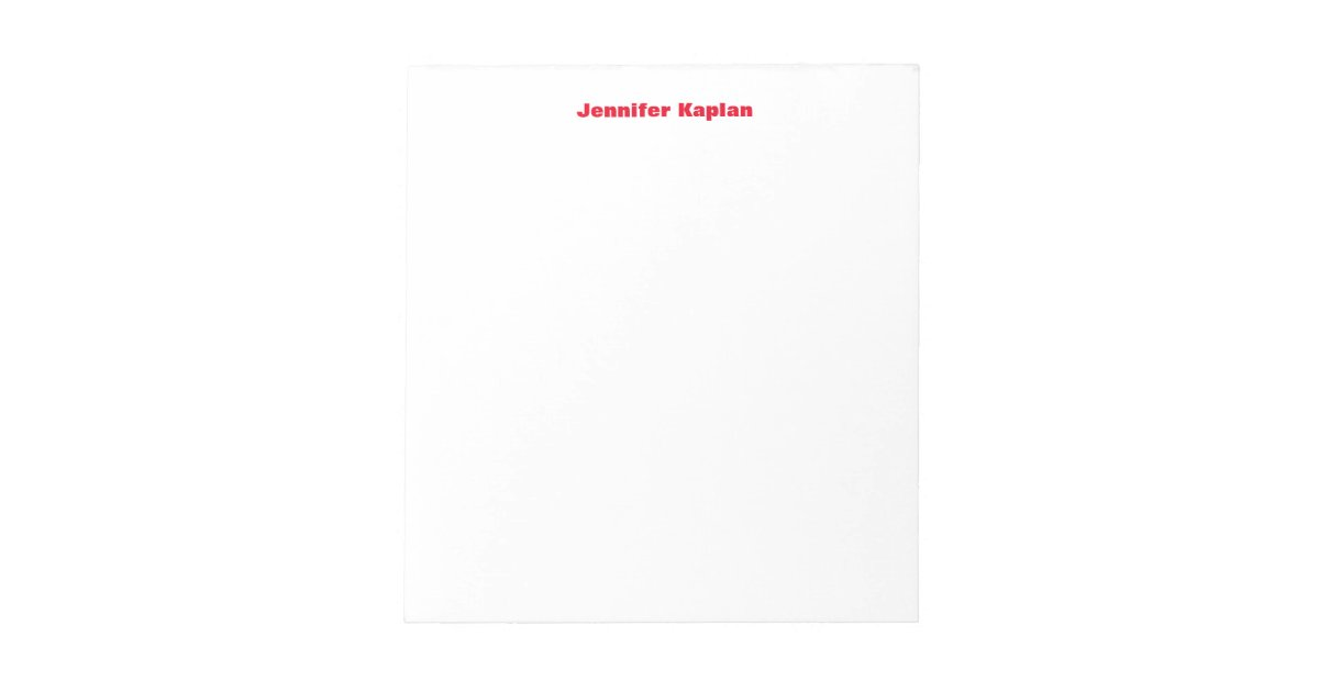 Red White Bold Plain Simple Professional Modern Notepad | Zazzle com