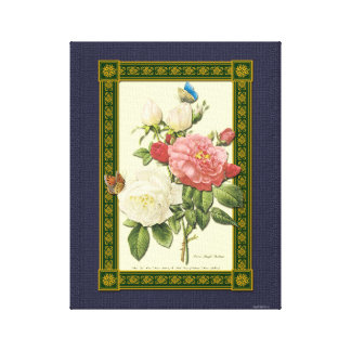 Red White Botanical Roses Wrapped Canvas