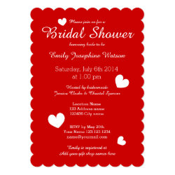 Red & white bridal shower invitations with hearts