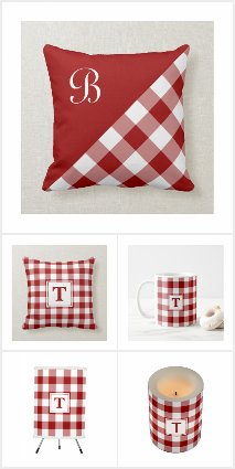 Red White Buffalo Check Monogram Home Decor Gifts