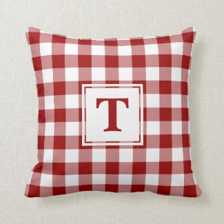 Red White Buffalo Check Pattern Custom Monogram Throw Pillow