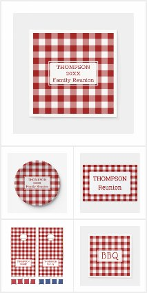 Red White Buffalo Check Summer Party Supplies