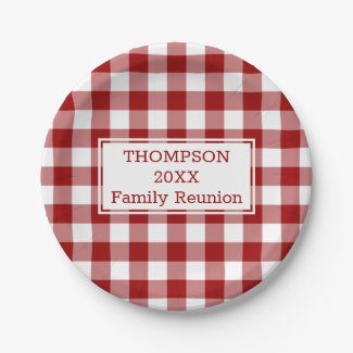 Red White Buffalo Check Your Name Family Reunion Paper Plate