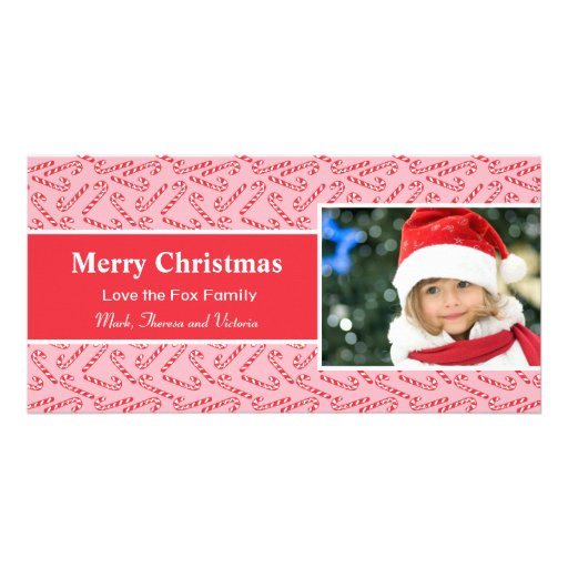 Red White Candy Cane Christmas Card Photo Card Template