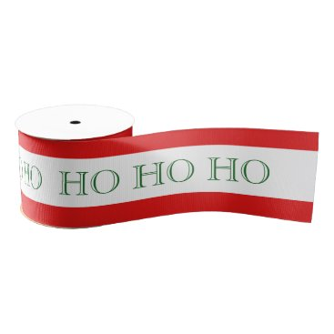 Aqua Red & White Candy Cane Stripe w/ Green HO HO HO Grosgrain Ribbon