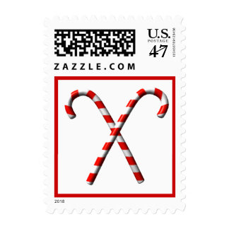 Red White Candy Canes Christmas Postage