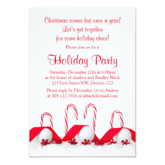 Red White Candy Canes Snowballs Christmas Party Card