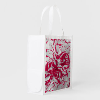 Red & White Carnation Photo Image Reusable Bag