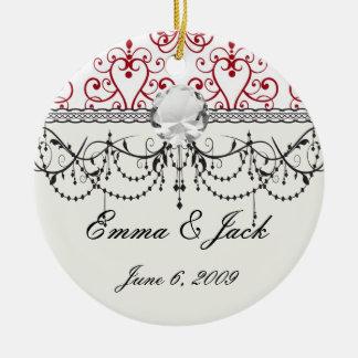 red white chandelier heart damask ceramic ornament