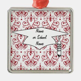 red white chandelier heart damask graduation metal ornament