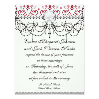 """red white chandelier heart damask 4.25"""" x 5.5"""" invitation card"""