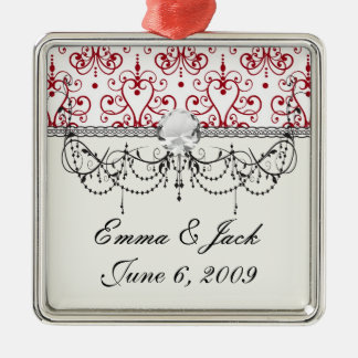red white chandelier heart damask metal ornament
