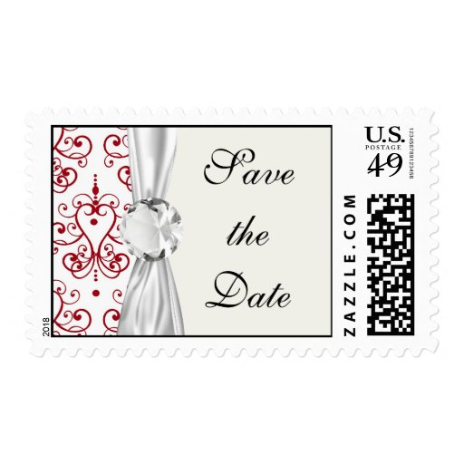 red white chandelier heart damask postage stamps