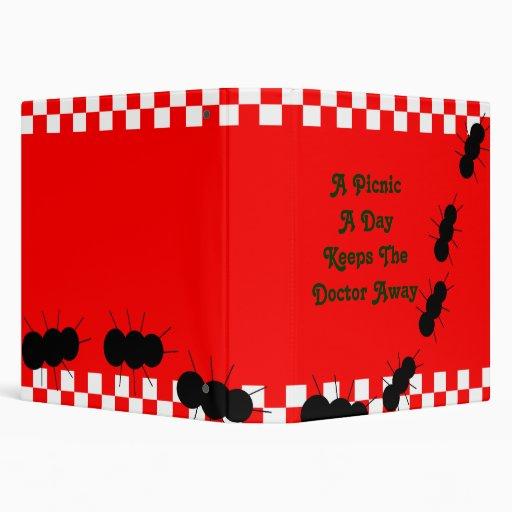 Red White Checkerboard Ants Binder