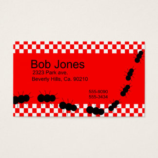 Red White Checkerboard Ants Business Card