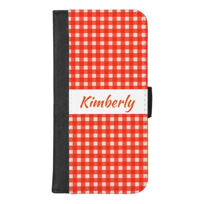 Red White Checkerboard iPhone 8/7 Plus Wallet Case