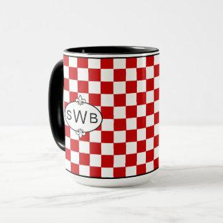 Red & White Checkerd Mug - Monogram on each side
