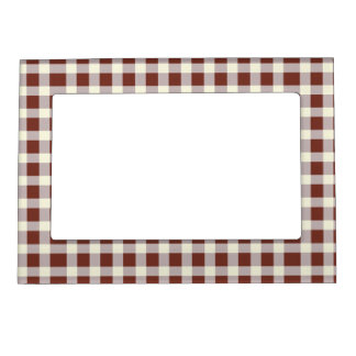 Red white checkered pattern magnetic frame