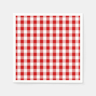 Red & White Checks Gingham Plaid- Country Rustic Napkin