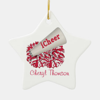 Red & White Cheerleader ornament