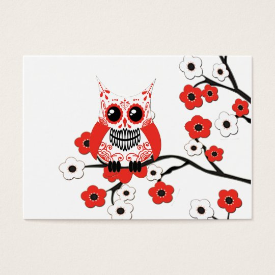 Red White Cherry Blossom Owl Business Card