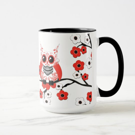 Red White Cherry Blossom Owl Mug