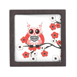 Red White Cherry Blossom Owl Premium Gift Box
