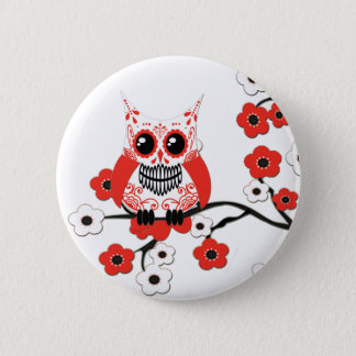 Red White Cherry Blossoms Owl Button