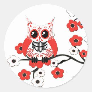 Red White Cherry Blossoms Owl Sticker