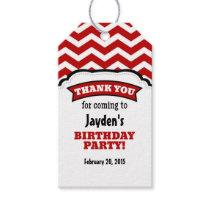 Red White Chevron Birthday Thank You Tags